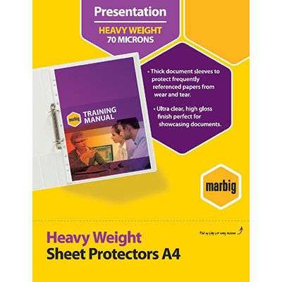 Image for MARBIG HEAVYWEIGHT COPYSAFE SHEET PROTECTORS A4 BOX 100 from Office National Perth CBD