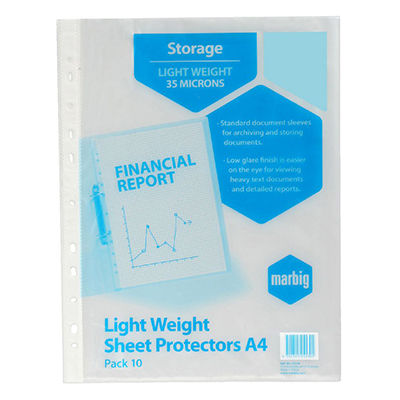 Image for MARBIG LIGHTWEIGHT COPYSAFE SHEET PROTECTORS A4 PACK 10 from Paul John Office National