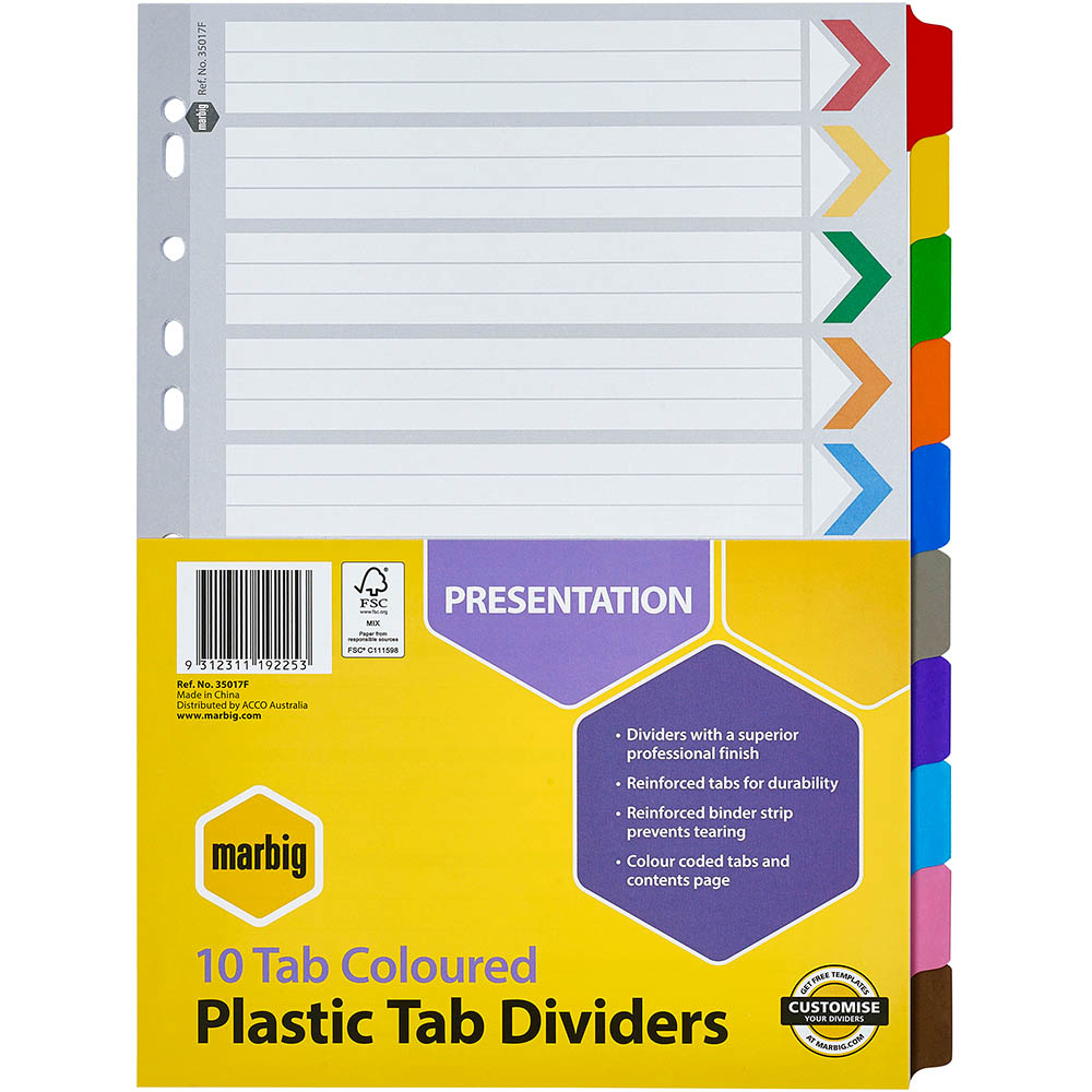 Image For MARBIG INDEX DIVIDER MANILLA 10 TAB A4 ASSORTED From Colemanu0027s  Office National