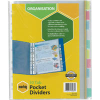 MARBIG COPYSAFE DIVIDER POCKET PP 10-TAB A4 ASSORTED