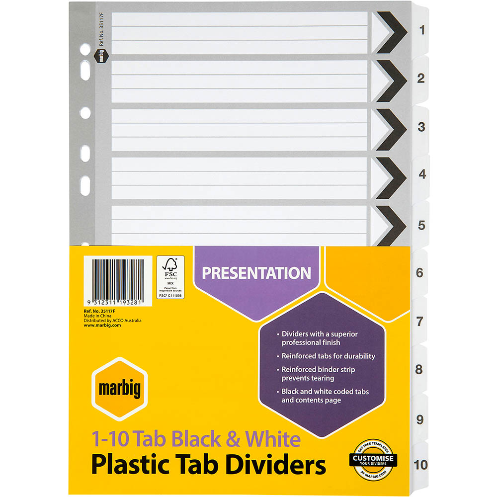 Image for MARBIG REINFORCED INDEX DIVIDER 1-10 TAB A4 BLACK/WHITE from Pirie Office National