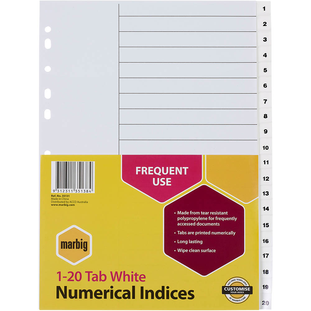 Image for MARBIG NUMERICAL INDEX DIVIDER 1-20 TAB PP A4 WHITE from Office National Perth CBD