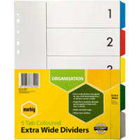 MARBIG EXTRA WIDE DIVIDER PP 5-TAB A4 ASSORTED