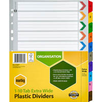 MARBIG INDEX DIVIDER EXTRA WIDE MANILLA 1-10 TAB A4 ASSORTED