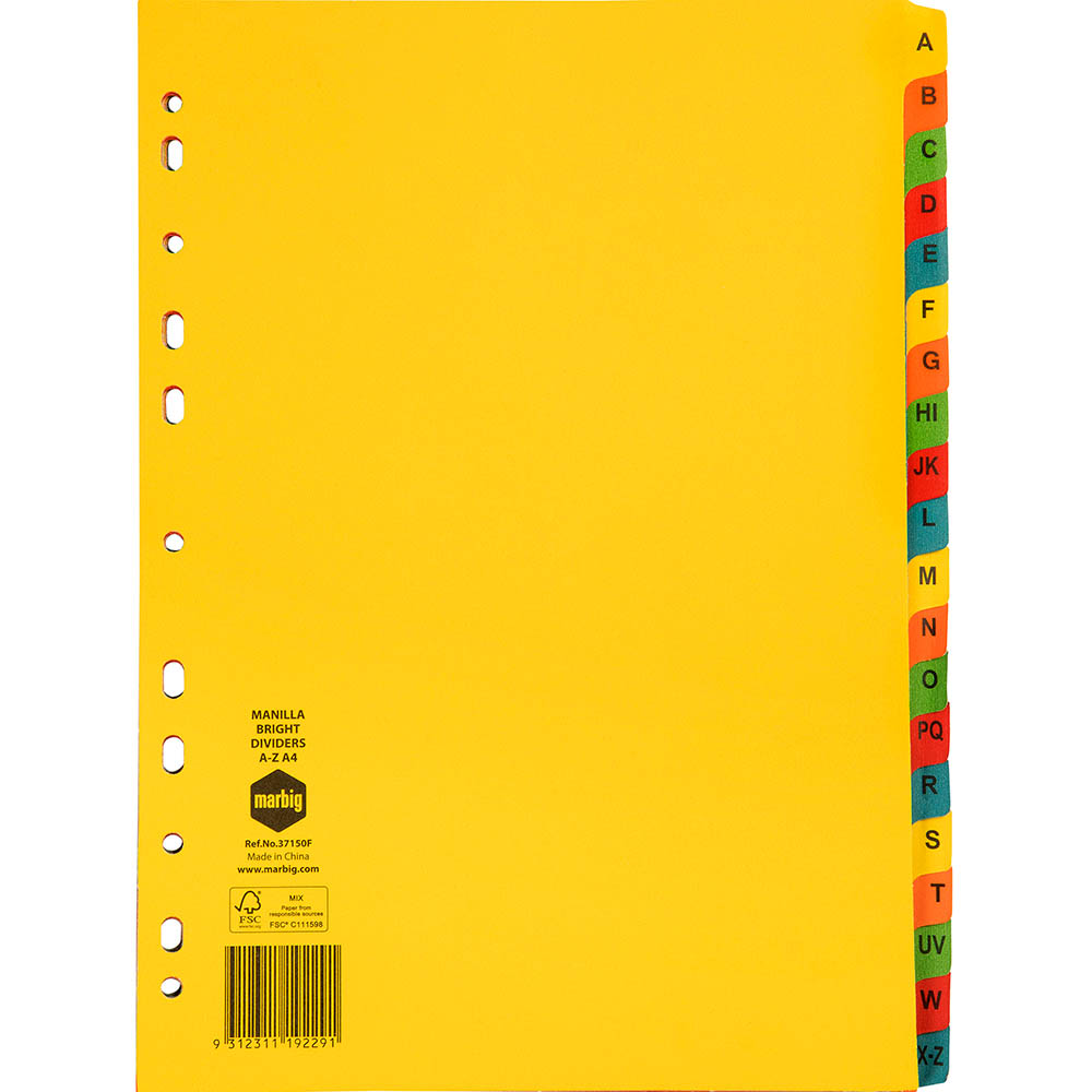 Image for MARBIG DIVIDER MANILLA A-Z TAB A4 BRIGHT ASSORTED from Office National Perth CBD
