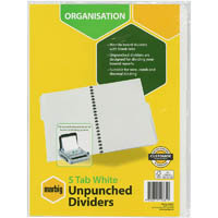 MARBIG DIVIDER UNPUNCHED MANILLA 5-TAB A4 WHITE