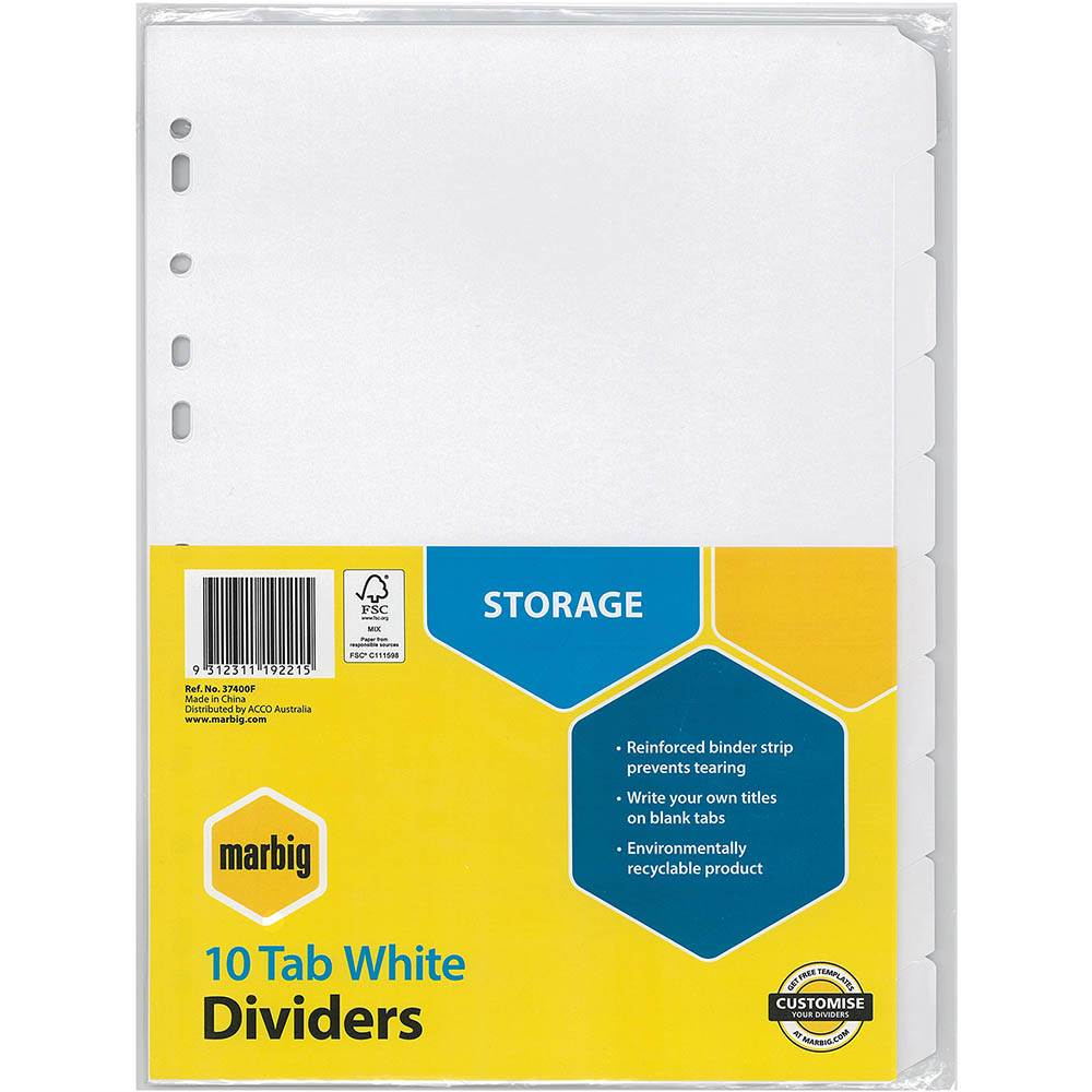 Image for MARBIG DIVIDER MANILLA 10-TAB A4 WHITE from Office National Kalgoorlie