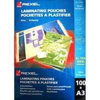 REXEL LAMINATING POUCH 125 MICRON A3 CLEAR PACK 100