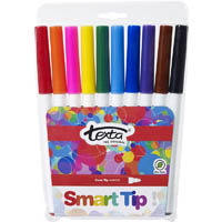 TEXTA SMARTTIP COLOURING MARKERS ASSORTED WALLET 10