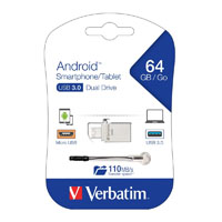 VERBATIM STORE-N-GO ANDROID SMARTPHONE TABLET DUAL USB DRIVE 16GB SILVER METAL
