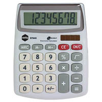 MARBIG DESKTOP CALCULATOR COMPACT 8 DIGIT SILVER