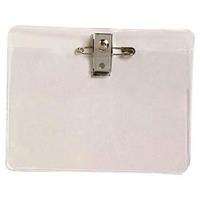 REXEL CARD HOLDER LARGE WITH PIN AND CLIP PACK 10
