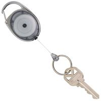 REXEL RETRACTABLE KEY HOLDER SNAP LOCK GREY