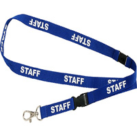 REXEL LANYARD FLAT STYLE SWIVEL CLIP PREPRINTED STAFF BLUE PACK 5