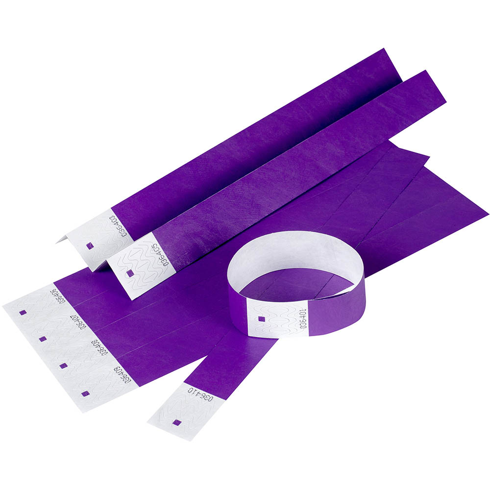 Image for REXEL TYVEK WRISTBANDS WITH SERIAL NUMBER PURPLE PACK 10 from Surry Office National