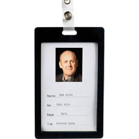 REXEL ID COLOURED PLASTIC CARD HOLDER PORTRAIT BLACK PACK 6