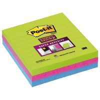 POST-IT 6753-SSMX SUPER STICKY NOTES LARGE LINED 70 SHEETS PER PAD 101 X 101MM ULTRA NEON PACK 3