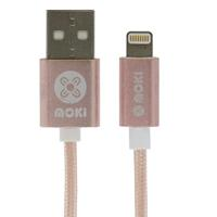 MOKI LIGHTNING SYNCHARGE BRAIDED CABLE 900MM ROSE GOLD