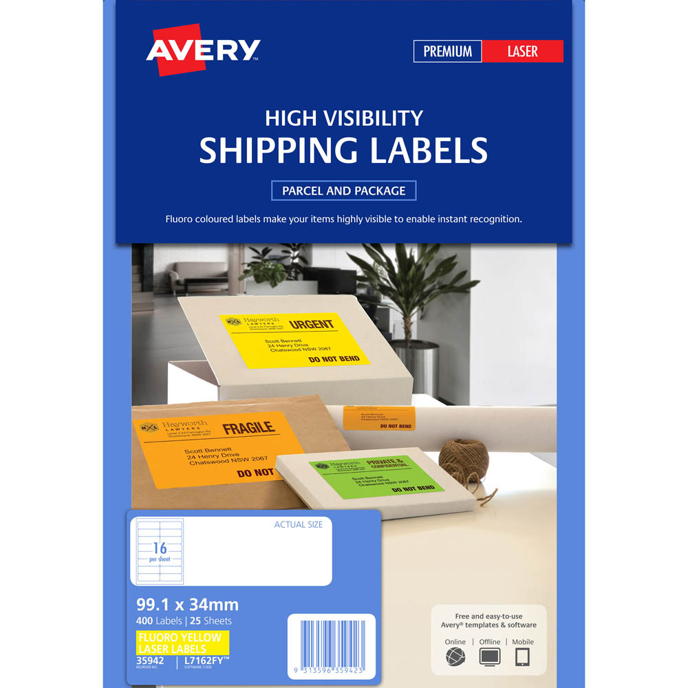 avery 35942 l7162fy laser label 16up fluorescent yellow pack 25