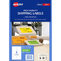 AVERY 36104 L7165FG SHIPPING LABEL 8UP 99.1 X 67.7MM FLUORO GREEN BOX 25