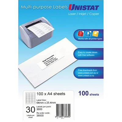 unistat 38935 multipurpose label 30up 64 x 25 4mm white pack 100
