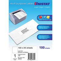 UNISTAT 38939 MULTI-PURPOSE LABEL 1UP 297 X 210MM WHITE PACK 100