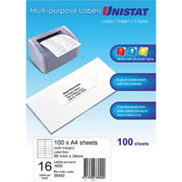 UNISTAT 38942 MULTI-PURPOSE LABEL 16UP 99 X 34MM WHITE PACK 100