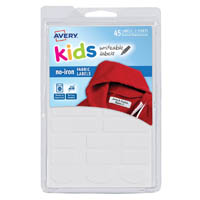 AVERY 40700 NO-IRON KIDS FABRIC LABEL ASSORTED SHAPES WHITE PACK 45