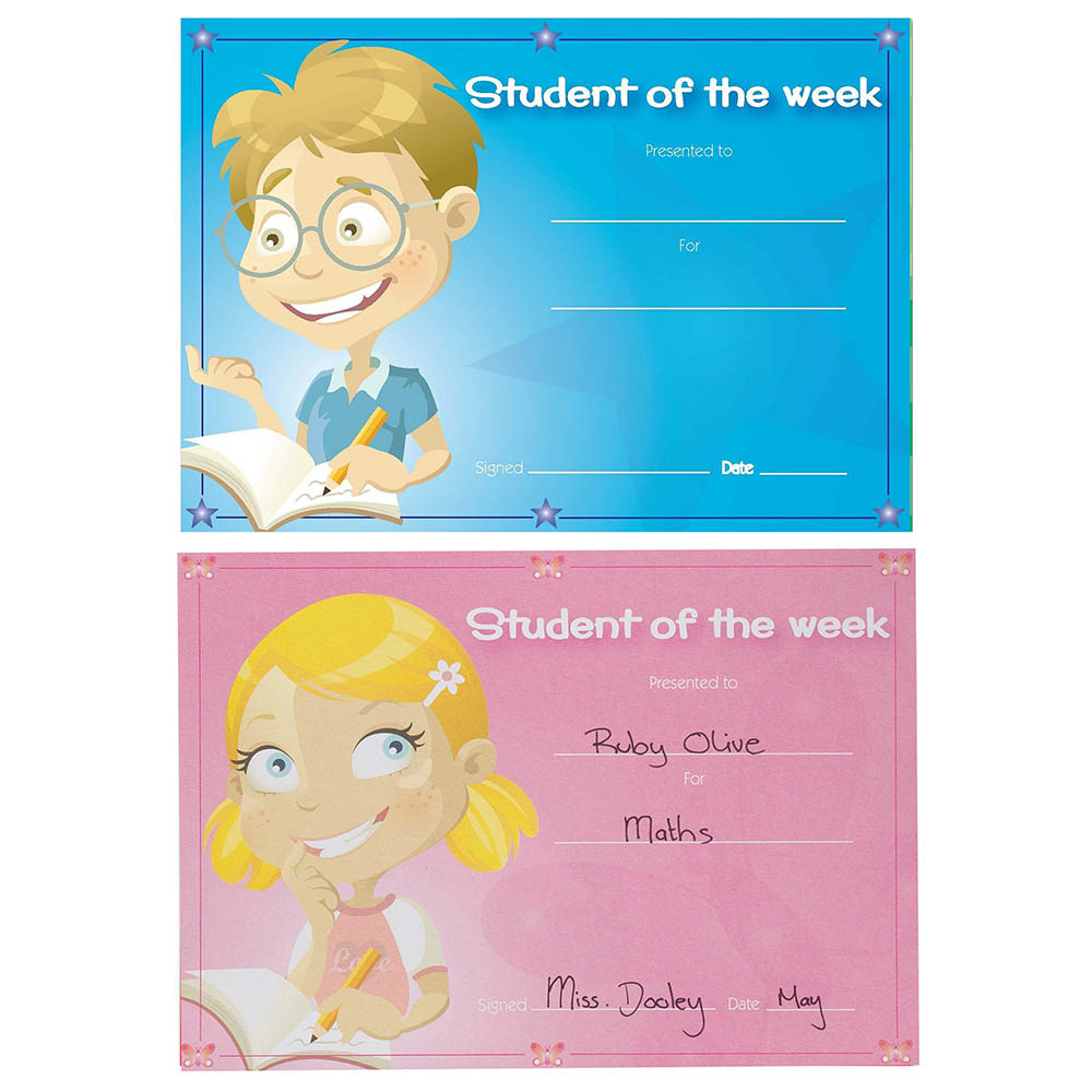 avery 69644 merit certificates student of the week a5 pack 36