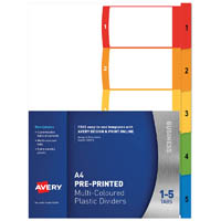 AVERY 920145 L7411-5 CUSTOMISABLE DIVIDER PP MULTICOLOUR 1-5 TABS