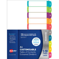 AVERY 922008 L7411-10 CUSTOMISABLE TABLE OF CONTENTS DIVIDERS 1-10 TABS LANDSCAPE/PORTRAIT SET 6