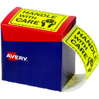 AVERY 932615 MESSAGE LABEL HANDLE WITH CARE 75 X 99.6MM FLUORO YELLOW PACK 750