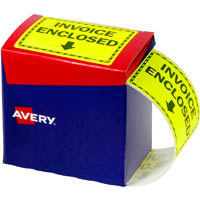 AVERY 932619 MESSAGE LABEL INVOICE ENCLOSED 75 X 99.6MM FLUORO YELLOW PACK 750