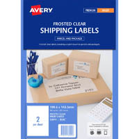 AVERY 936002 J8566 SHIPPING LABEL FROSTED INKJET 2UP CLEAR PACK 25