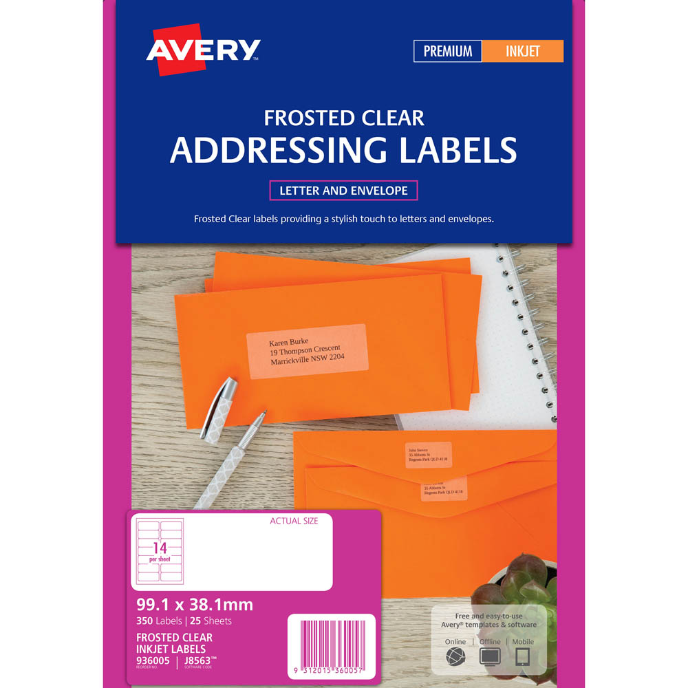 Image for AVERY 936005 J8563 INKJET LABEL 99.1 X 38.1MM 14UP CLEAR WITH MATT FINISH PACK 25 from Wetherill Park / Smithfield Office National