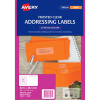 AVERY 936007 J8560 INKJET LABEL 21UP CLEAR WITH MATT FINSH PACK 25