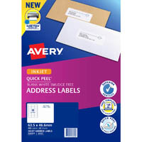 AVERY 936031 J8161 QUICK PEEL ADDRESS LABEL WITH SURE FEED INKJET 18UP WHITE PACK 25