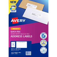 AVERY 936032 J8160 QUICK PEEL ADDRESS LABEL WITH SURE FEED INKJET 21UP WHITE PACK 25