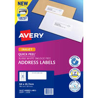AVERY 936057 J8158 QUICK PEEL ADDRESS LABEL WITH SURE FEED INKJET 30UP WHITE PACK 25