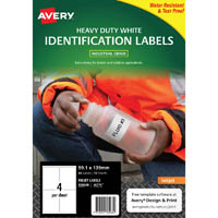 AVERY 936068 J4774 HEAVY DUTY INKJET LABELS 4UP WHITE PACK 10