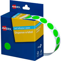 AVERY 937296 ROUND LABEL DISPENSER 14MM FLUORO GREEN BOX 700