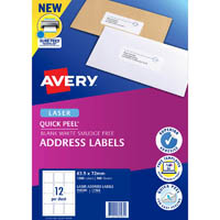 AVERY 959005 L7164 QUICK PEEL ADDRESS LABEL WITH SURE FEED LASER 12UP WHITE PACK 100