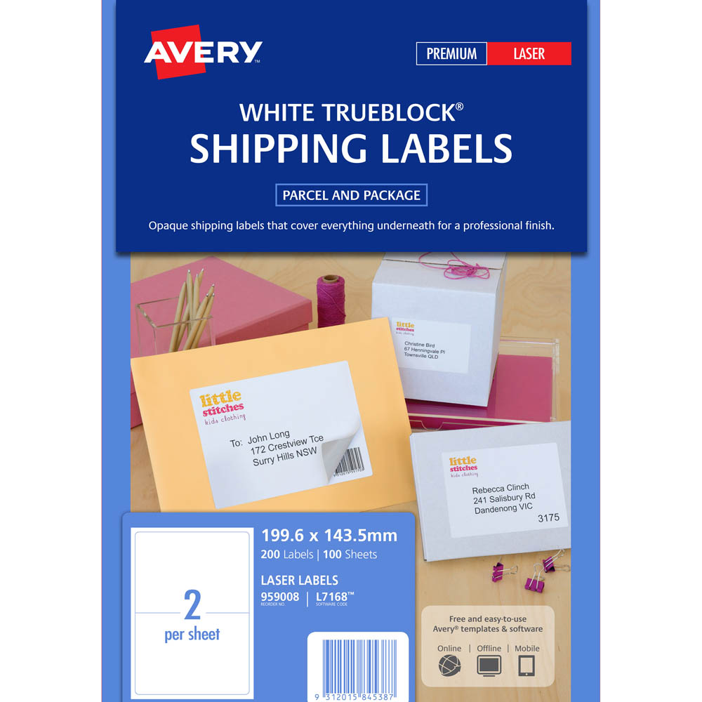 avery 959008 l7168 trueblock shipping label laser 2up white pack 100