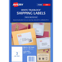 AVERY 959013 L7155 TRUEBLOCK SHIPPING LABEL LASER 3UP WHITE PACK 100