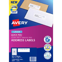AVERY 959061 L7156 QUICK PEEL ADDRESS LABEL WITH SURE FEED LASER 45UP WHITE PACK 100