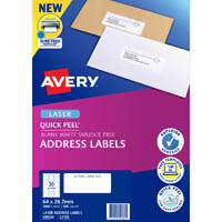 AVERY 959062 L7158 QUICK PEEL ADDRESS LABEL WITH SURE FEED LASER 30UP WHITE PACK 100