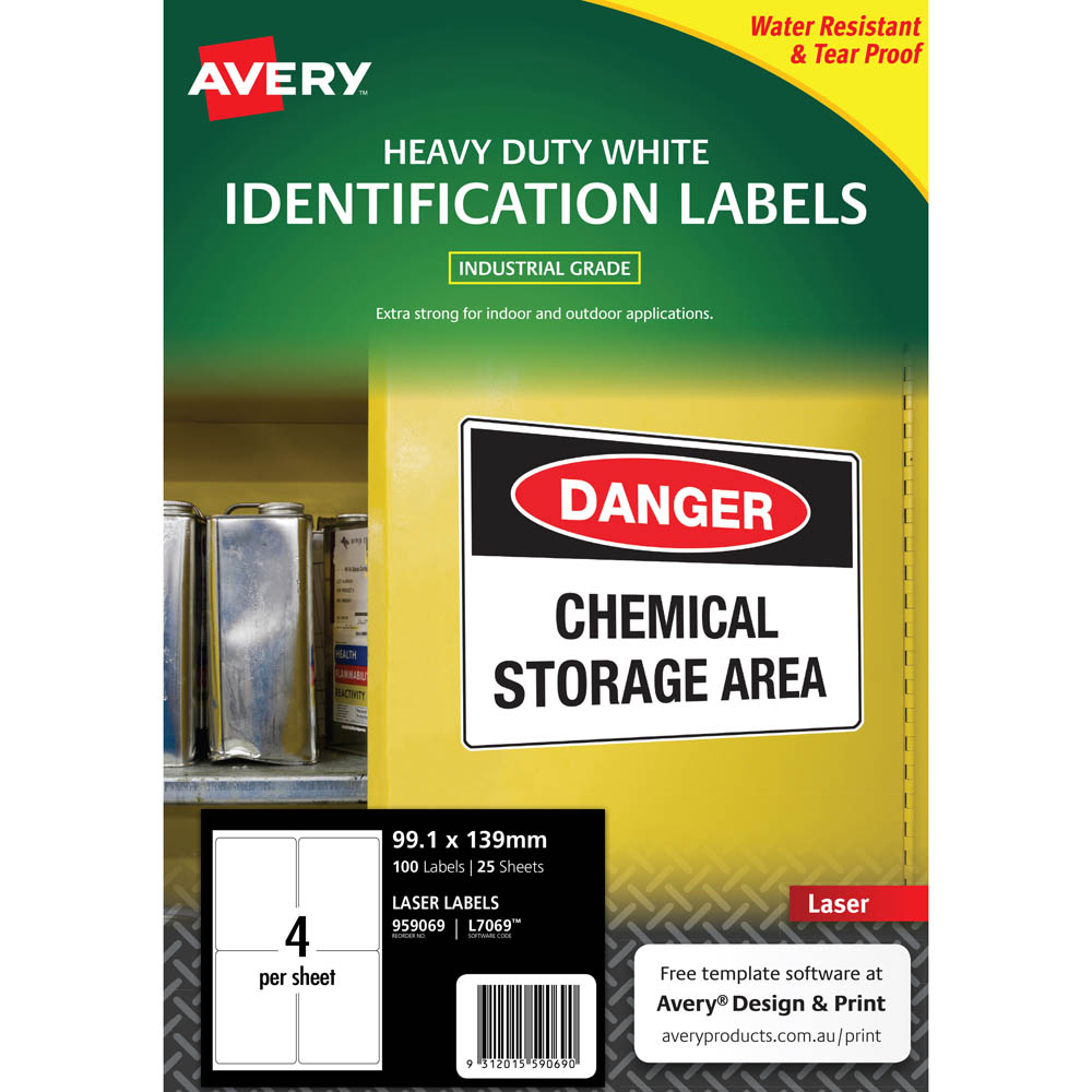 Image for AVERY 959069 L7069 HEAVY DUTY LASER LABELS WHITE 4UP PACK 25 from PaperChase Office National