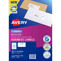 AVERY 959115 L7651 QUICK PEEL ADDRESS LABEL WITH SURE FEED LASER 65UP WHITE PACK 40