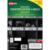 AVERY 959205 REMOVABLE HEAVY-DUTY LABELS 45.7 X 21.2MM WHITE PACK 20