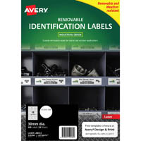 AVERY 959206 REMOVABLE HEAVY-DUTY LABELS 30MM WHITE PACK 20